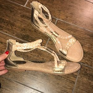 Boc tan and gold gladiator sandals